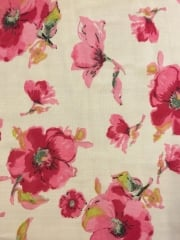 Georgette Chiffon Soft Touch Sheer Fabric - Ivory/ Cerise Pansies CHF250 IVCR