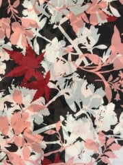 Georgette Chiffon Soft Touch Sheer Fabric - Summer Fall Black/Peach CHF252 BKPCH