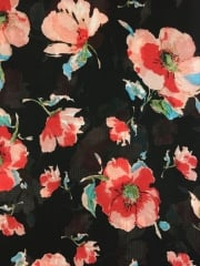 Georgette Chiffon Soft Touch Sheer Fabric - Black/ Red Pansies CHF250 BKRD