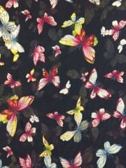 Georgette Chiffon Soft Touch Sheer Fabric - Butterfly Family Navy/Multi CHF248 NYMLT