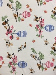 Georgette Chiffon Soft Touch Sheer Fabric - Summer Birds Cage CHF255 IVMLT