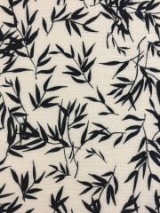 French Crepe Fabric- Silhouette Leaves White/ Navy CRP2 WHNY