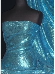 Showtime Fabric All Over Stitched 3mm Sequins - Turquoise Blue SEQ53 TQS