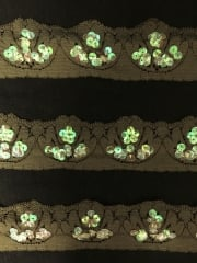 Scalloped Edging Sequin Stretch Lace Trim- Khaki Green KH SL