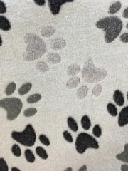 Micro Fleece Ultra Soft Fabric- Paw Print Grey/Black MF GRBK