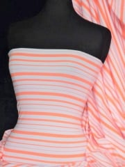 Jersey Lycra 4 Way Stretch Fabric- Neon Peach/Multi Horizontal Stripe Q1232 NPCH