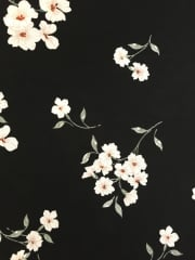 Crepe Blouse Fabric- Black/ Ivory Blossoms CRP3 BKIV
