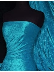 Crushed Velvet/Velour Stretch Material- Turquoise Blue Q156 TQBL