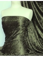 Crushed Velvet/Velour Stretch Material- Khaki Q156 KH