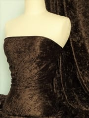 Crushed Velvet/Velour Stretch Material- Brown Q156 BR