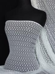 Fish Net 4 Way Stretch Circle Knit Material- Ivory Q899 IV