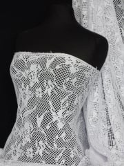 Fish Net 4 Way Stretch Knit Material- White Abstract Q977 WHT