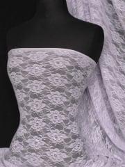 Lace Flower 4 Way Stretch Shimmer Fabric- Pastel Lilac Q936 PLLC SL