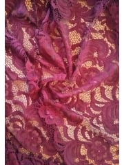 Scalloped Floral Stretch Soft Handle Lace Fabric- Wine SQ139 WN