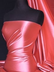Super Soft Satin Stretch Fabric- Coral Q710 CRL