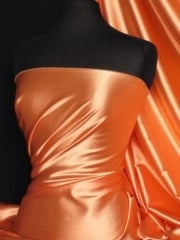 Super Soft Satin Stretch Fabric- Orange Q710 OR