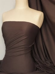 Soft Fine Rib 100% Cotton Knit Material - Coffee Brown Q61 CFBR
