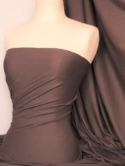 Soft Fine Rib 100% Cotton Knit Material - Earth Brown Q61 EBR