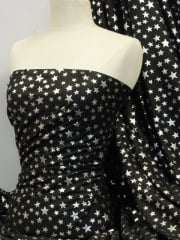 Soft Fine Rib 100% Cotton Knit Material - Silver Stars on Black Q840 BKSLV
