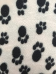 Polar Fleece Anti Pill Washable Soft Fabric- Paw Print Ivory/Black SQ176 IVBK