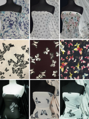 Chiffon Soft Touch Sheer Floaty Fabric- Butterfly Prints