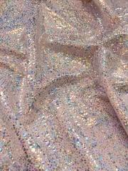 Hologram Rainbow Foil Stretch Spandex - Rose Pink Silver Sparkles HMLYC67 PNSLV