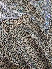 Hologram Rainbow Foil Stretch Spandex - Silver Shatters HMLYC69 SLVBK
