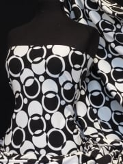Micro Lycra 4 Way Stretch Fabric- Abstract Circle Q1128 BKWHT