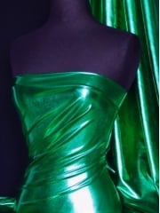 Wet Look Foil 4 Way Stretch Lycra Fabric- Jade Green NG253 JD