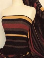 Sweater Knit Acrylic Soft Knitwear Fabric- Rust Horizontal Stripe Q1201 RST