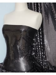 Lycra Stretch Material- Silver Sequins on Black Q38 SLVBK