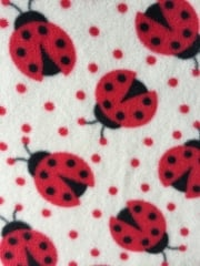 Polar Fleece Anti Pill Washable Soft Fabric- Ladybirds Ivory/Red PPFL50 IVRD