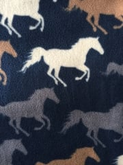 Polar Fleece Anti Pill Washable Soft Fabric- Horse Racing Navy/Multi PPFL51 NYMLT