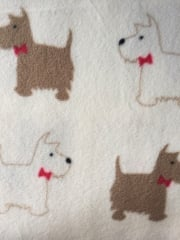 Polar Fleece Anti Pill Washable Soft Fabric- Scottie Terriers Ivory/Mocha PPFL49 IVMCH