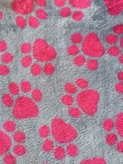 Micro Fleece Ultra Soft Fabric- Grey/Cerise Paws MF GRCRS