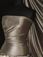 Houndstooth Velvet Spandex Fabric Luxuriously Soft Velvet Material- Champagne/Black PVEL245 CHAMBK