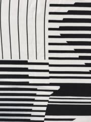 Polyester Woven Blouse Fabric- Black/White Piano Stripes SQ194 BKWH