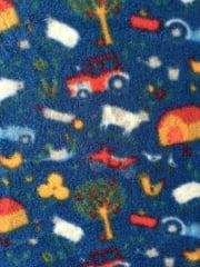 Polar Fleece Anti Pill Washable Soft Fabric- Playhouse Blue/Multi Q1401 BLMLT