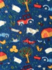 Polar Fleece Anti Pill Washable Soft Fabric- Playhouse Blue/Multi Q1401 BLMLT