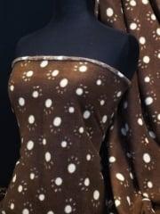 Polar Fleece Anti Pill Washable Soft Fabric- Brown/White Paws Q396 BRWHT