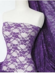 Flower Stretch Lace Fabric- Purple Q137 PPL