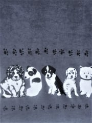 Polar Fleece Anti Pill Washable Soft Fabric- Border Print Puppies Q1409 DKCGR