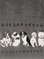 Polar Fleece Anti Pill Washable Soft Fabric- Border Print Puppies Q1409 GR