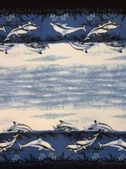 Polar Fleece Anti Pill Washable Soft Fabric- Border Print Dolphins Q1410 BLBK
