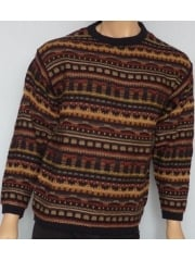 MEN'S Navy/Multi Print Crew Neck Jumper- CV3 NYMLT