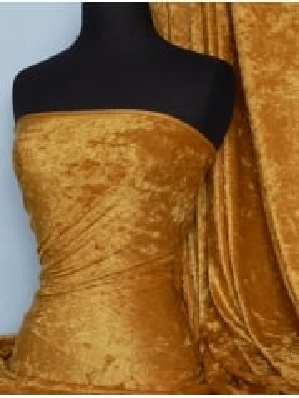 Crushed Velvet/Velour Stretch Material- Mustard Q156 MST