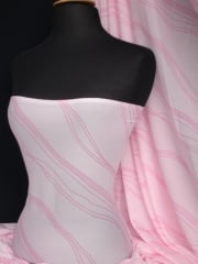 Helenka Mesh Stretch Sheer Fabric- Baby Pink Waves SQ211 BPN