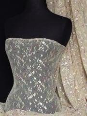 Helenka Mesh Sheer Stretch Fabric- Stone Embroidered Q1047 STN