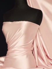 Clearance Satin Shiny Lycra Mid Weight Stretch Fabric- Pearl Pink SQ86 PLPN