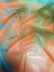 Power Mesh/ Net 4 Way Stretch Material- Tropical Tie Dye Orange/Green SQ184 ORGRN